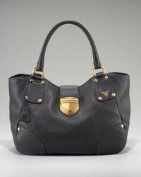 Prada - Black Vitello Daino Pebbled Calfskin Leather Tote - Lyst