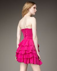 Rebecca Taylor | Pink Party Girl Strapless Dress | Lyst