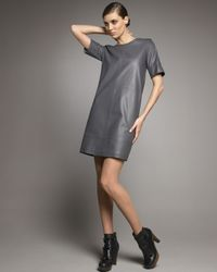 See By Chloé | Gray Leather Shift Dress | Lyst
