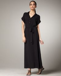 Splendid | Black Tie-waist Maxi Shirtdress | Lyst