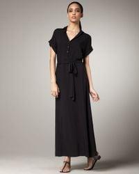 Splendid - Black Tie-waist Maxi Shirtdress - Lyst