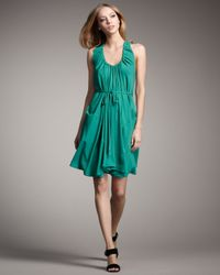 Theory - Green Silk Halter Dress - Lyst