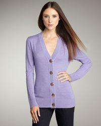 Tory Burch | Purple Simone Cardigan, Lavender | Lyst