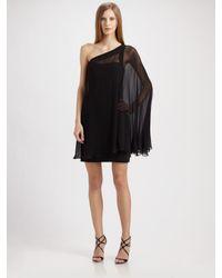 Aidan Mattox | Black One-shoulder Chiffon Cocktail Dress | Lyst