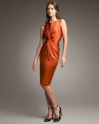 Armani | Orange Twist-front Satin Dress | Lyst