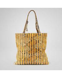 Bottega Veneta | Gold Resina Tope Velvet Python Bag | Lyst
