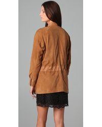 Catherine Malandrino - Natural Suede Jacket with Drawstring Waist - Lyst