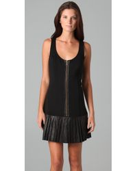 Catherine Malandrino | Black Sleeveless Pleated Leather Dress | Lyst