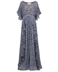 Collette Dinnigan | Blue Ruffle Print Long Dress | Lyst