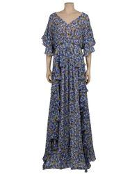 Collette Dinnigan - Blue Ruffle Print Long Dress - Lyst