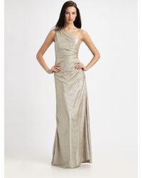 David Meister | Metallic Matelasse One-shoulder Gown | Lyst
