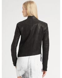 Helmut Lang | Gray Cropped Leather Jacket | Lyst
