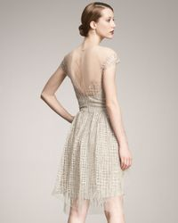 Lela Rose - Natural Embroidered Tulle Dress - Lyst