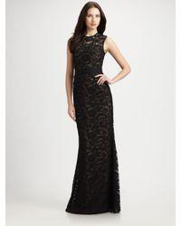 ML Monique Lhuillier - Black Lace Gown - Lyst