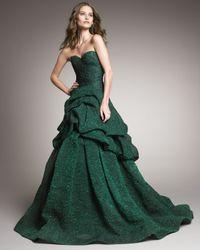 Monique Lhuillier | Green Tufted-skirt Strapless Gown | Lyst