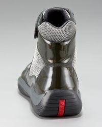 Prada | Black Patent Hi-top Sneaker | Lyst