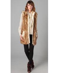 Rachel Zoe - Brown Long Faux Fur Vest - Lyst