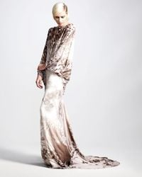 Roberto Cavalli | Natural Hand-devore Velvet Gown | Lyst
