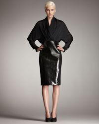 Stella McCartney - Black Faux Patent Leather-front Skirt - Lyst