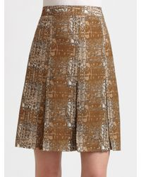 Tory Burch | Brown Hull Wool & Silk Twill Skirt | Lyst