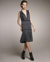 Vera Wang - Gray Pleated Jersey V-neck Dress - Lyst