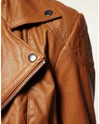 ASOS Collection - Brown Asos Leather Biker Jacket - Lyst