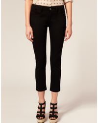 ASOS Collection - Black Asos Petite Cotton Skinny Twill Capri Trousers - Lyst