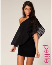 ASOS Collection - Black Asos Petite Pleated One Shoulder Bodycon Dress - Lyst