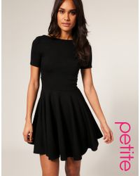 ASOS Collection - Black Asos Petite Tailored Short Sleeve Ponti Fit and Flare Dress - Lyst
