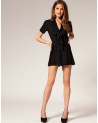 ASOS Collection   Black Asos Pussybow Playsuit   Lyst