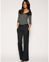 ASOS Collection - Black Asos Tab Side Wide Leg Workwear Trouser - Lyst