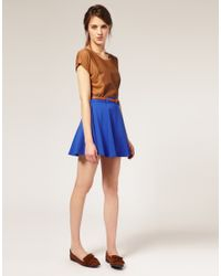 ASOS Collection | Blue Asos Belted Ponti Fit and Flare Skirt | Lyst