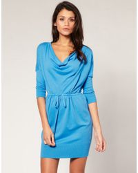 ASOS Collection - Blue Asos Cowl Neck Knitted Dress - Lyst