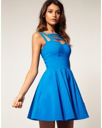 ASOS Collection | Blue Asos Full Skirt Dress with Multi Strap | Lyst