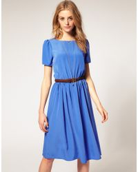 ASOS Collection - Blue Asos Soft Skirt Midi Dress with Short Sleeves - Lyst