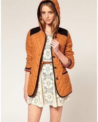 ASOS Collection | Orange Asos Quilted Jacket with Hood and Cord Trim | Lyst