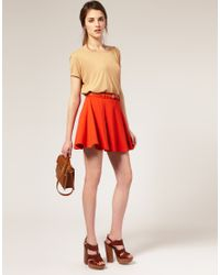 ASOS | Orange Ponti Mini Skirt With Belt | Lyst