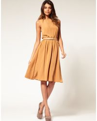 ASOS | Orange Asos Midi Dress with Soft Skirt | Lyst