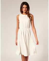 ASOS - White Asos Midi Dress with Soft Skirt - Lyst