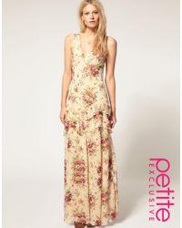 ASOS Collection - Multicolor Asos Petite Exclusive Premium Floral Print Cut Out Back Maxi Dress - Lyst