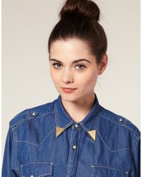 ASOS Collection | Metallic Asos Pair Of Smooth Triangle Collar Tips | Lyst