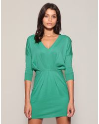 ASOS - Green V-neck Pleat Waist Knitted Dress - Lyst