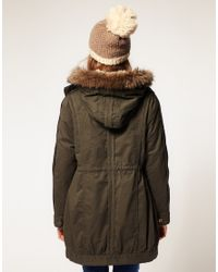 ASOS Collection - Black Asos Parka with Detachable Faux Fur Lining - Lyst