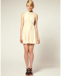 ASOS Collection - Pink Asos Petite Shirt Dress with Broderie Trim - Lyst