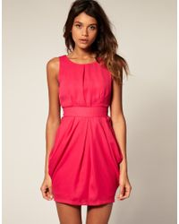 ASOS Collection | Pink Asos Tulip Dress with Tie Back | Lyst