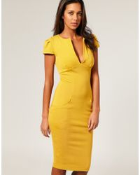 ASOS Collection | Yellow Asos Ponti Pencil Dress with Pockets | Lyst