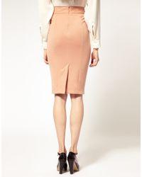 ASOS Collection - Pink Asos Scallop Trim Detail Ponti Pencil Skirt - Lyst