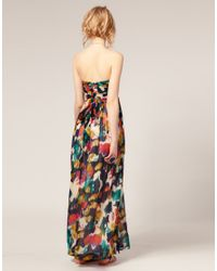 ASOS Collection - Multicolor Asos Petite Multi Smudge Print Maxi Dress - Lyst