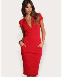 ASOS | Red Asos Ponti Pencil Dress with Pockets | Lyst