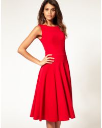 ASOS Collection | Red Asos Midi Fit & Flare Dress with Basqued Waist | Lyst